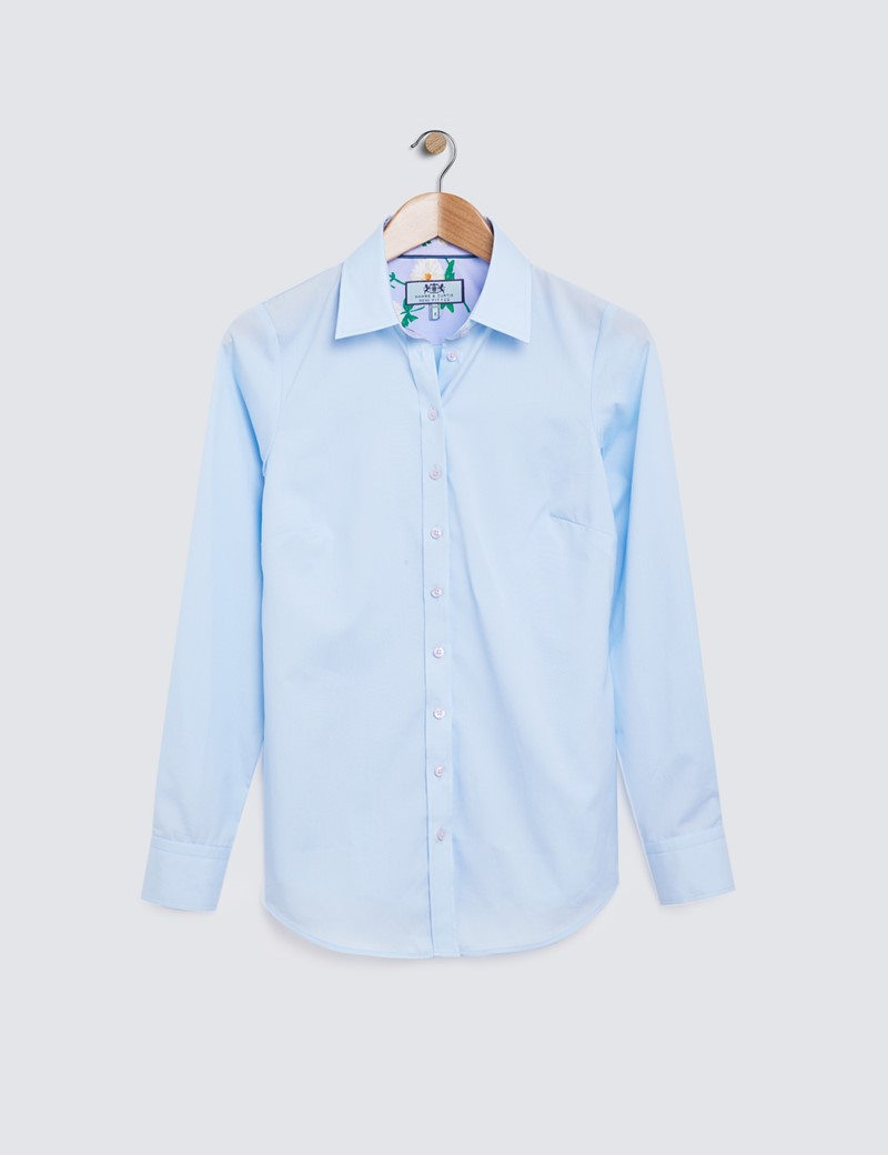 Women's Light Blue Semi Fitted Shirt with Contrast Detail