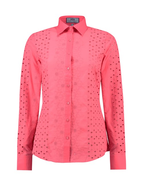 Women's Coral Broderie Anglaise Semi Fitted Shirt - Single Cuff