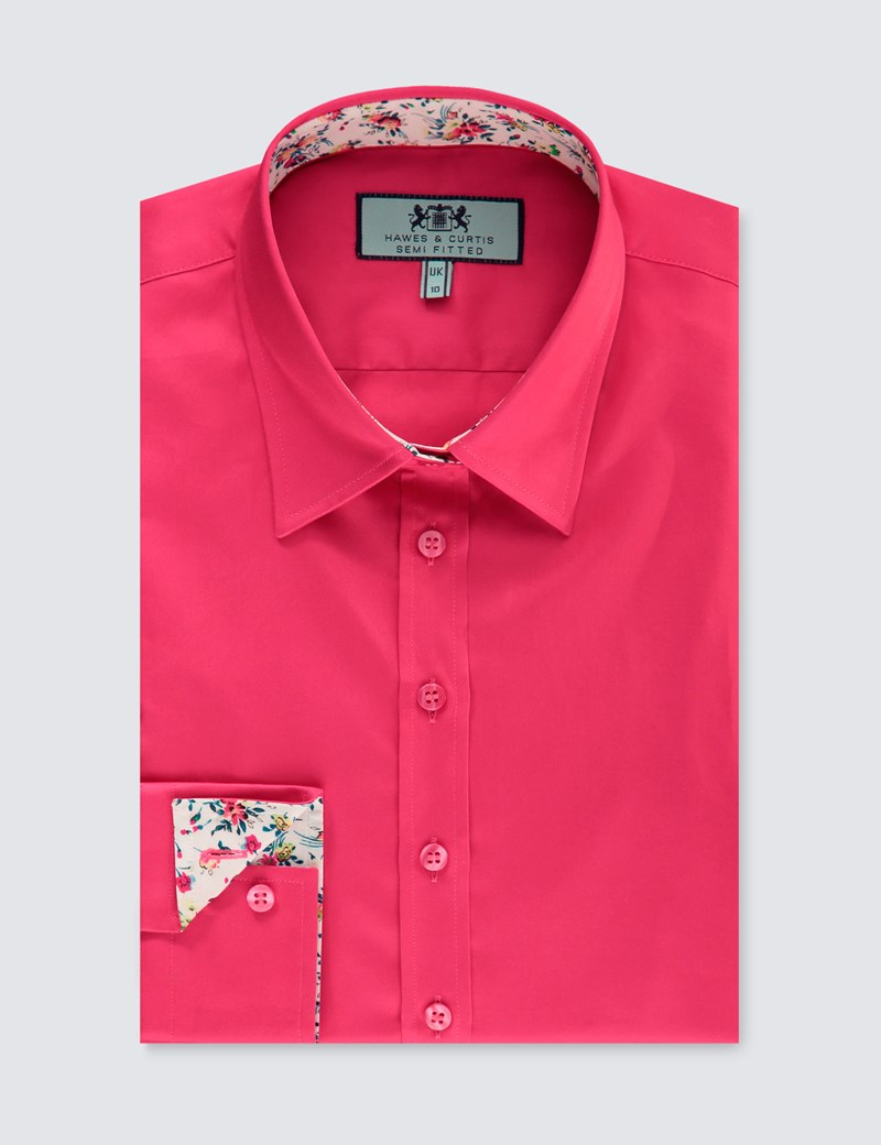 Women's Hot Coral Semi Fitted Shirt With Contrast Detail - Single Cuff