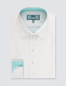Women's White Semi Fitted Shirt - Single Cuff