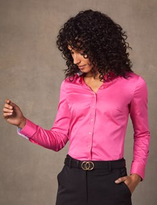 Women's Bright Pink Semi Fitted Shirt - Single Cuff