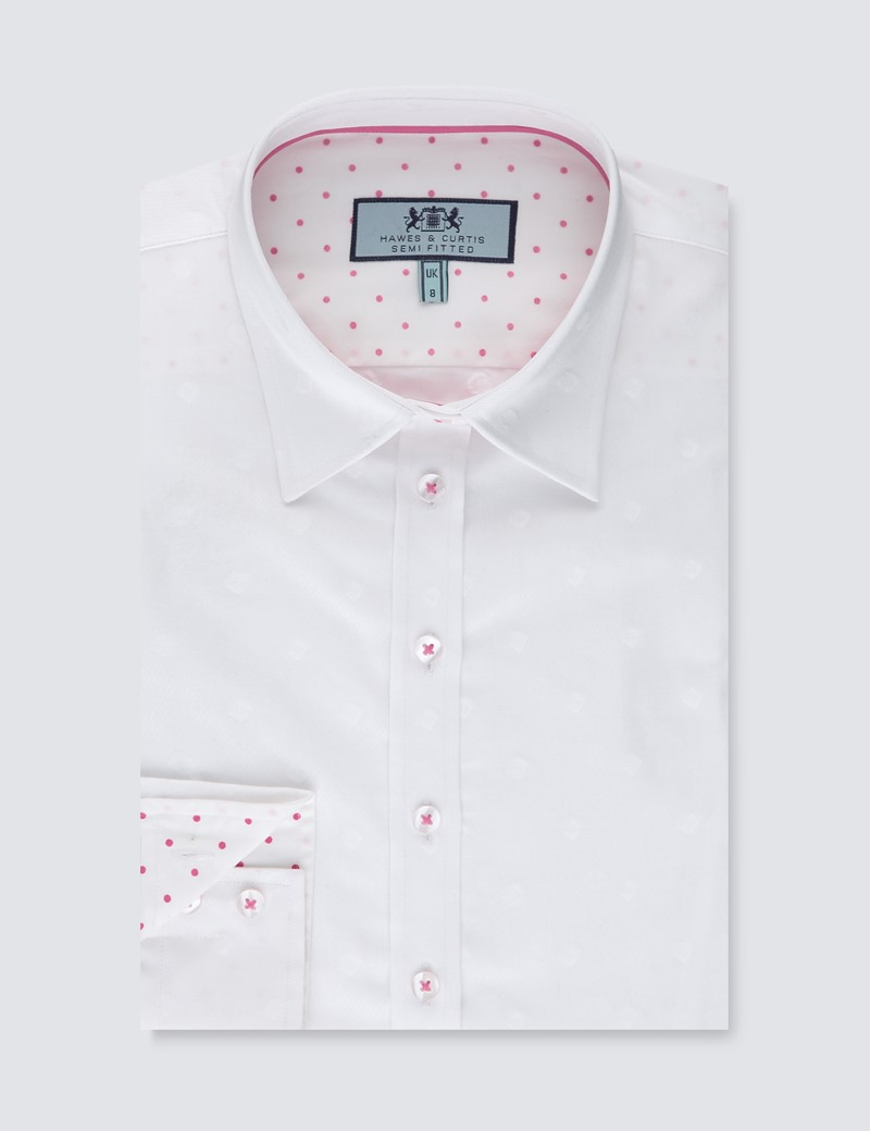 Women's White Neat Semi Fitted Shirt - Single Cuff