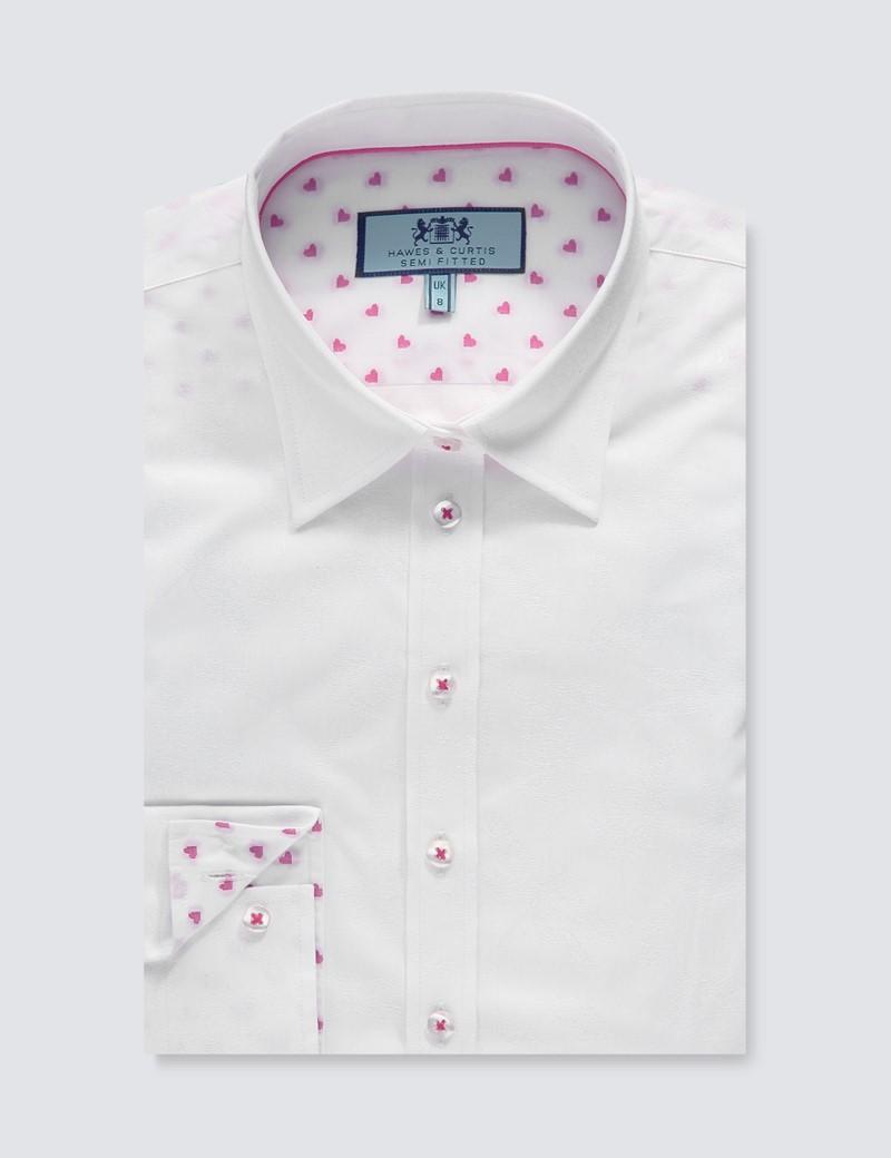 Women's White Jacquard Semi Fitted Shirt - Single Cuff