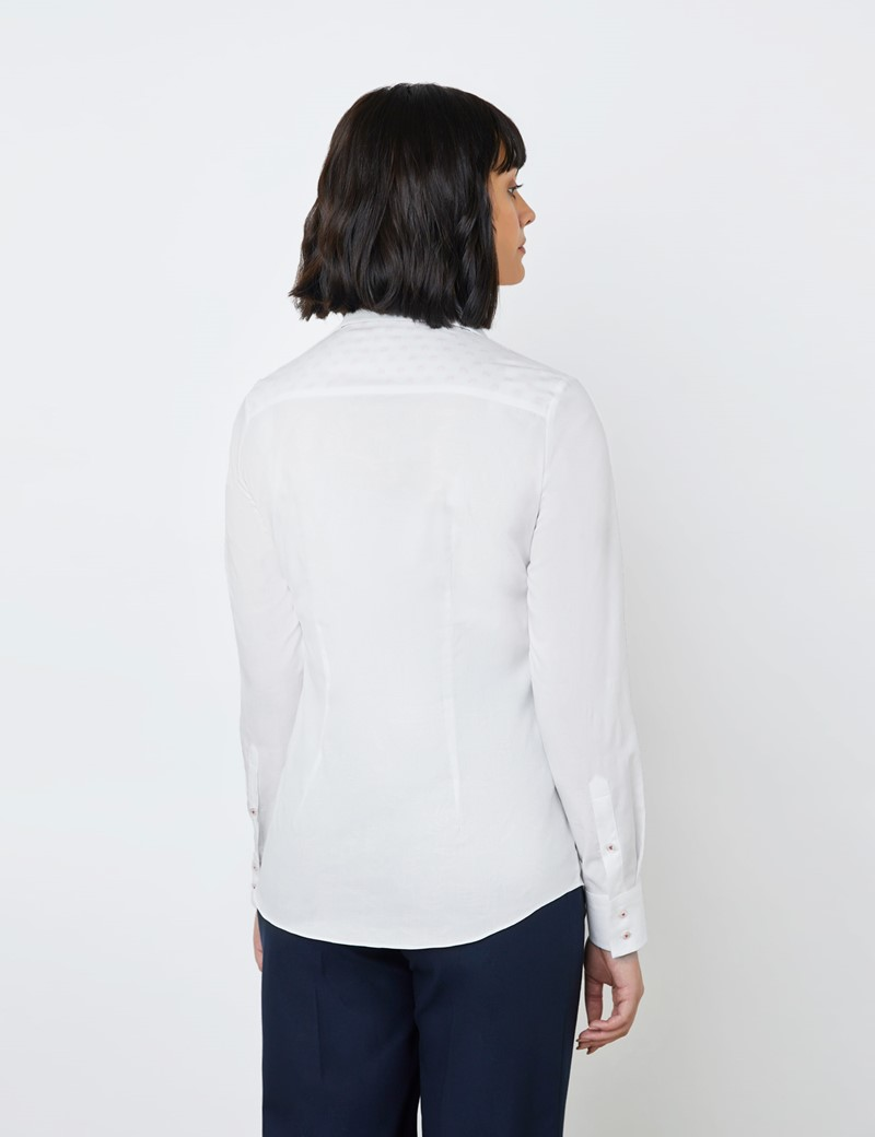 Women's White Jacquard Semi Fitted Shirt - Single Cuff
