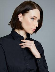Women's Black Semi Fitted Cotton Shirt - Single Cuff