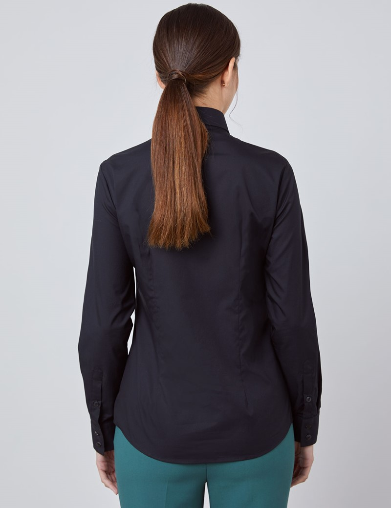Women's Black Semi Fitted Cotton Shirt - Single Cuff