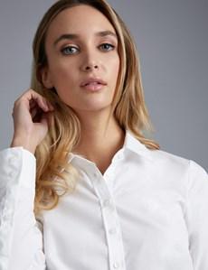Women's White Poplin Semi-Fitted Shirt - Single Cuff