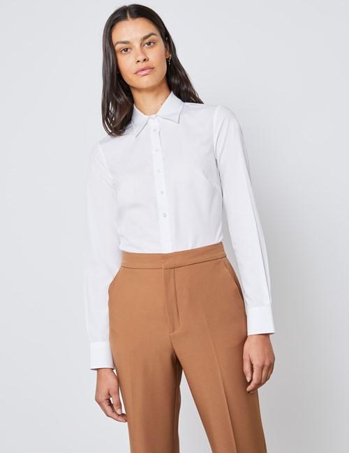 Bluse – Regular Fit – Baumwolle – Popeline weiß