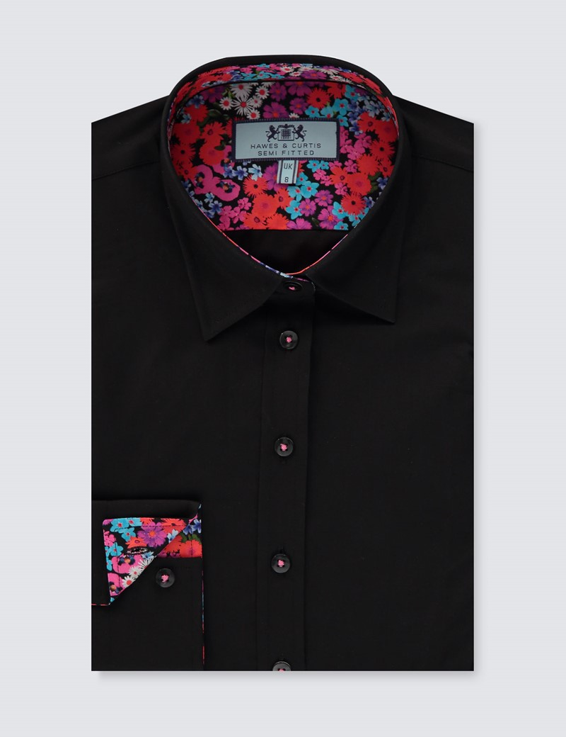Women's Black Plain Semi Fitted Shirt With Floral Contrast Detail - Single Cuff