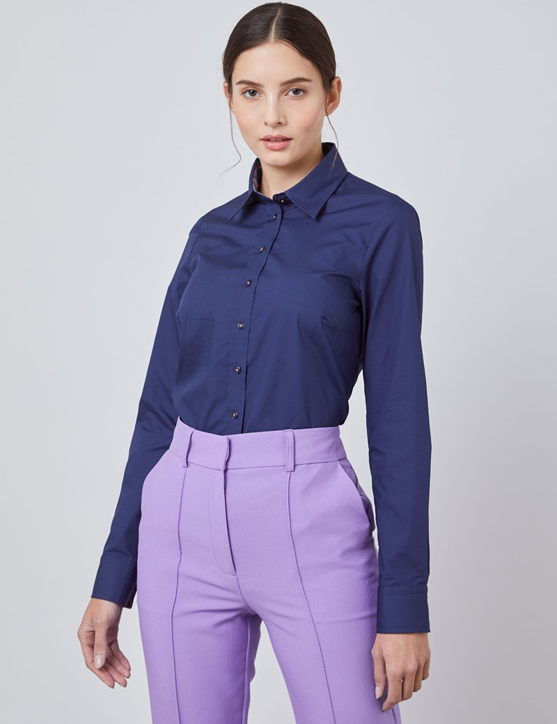 Women's Navy Plain Semi Fitted Shirt With Contrast Detail - Single Cuff