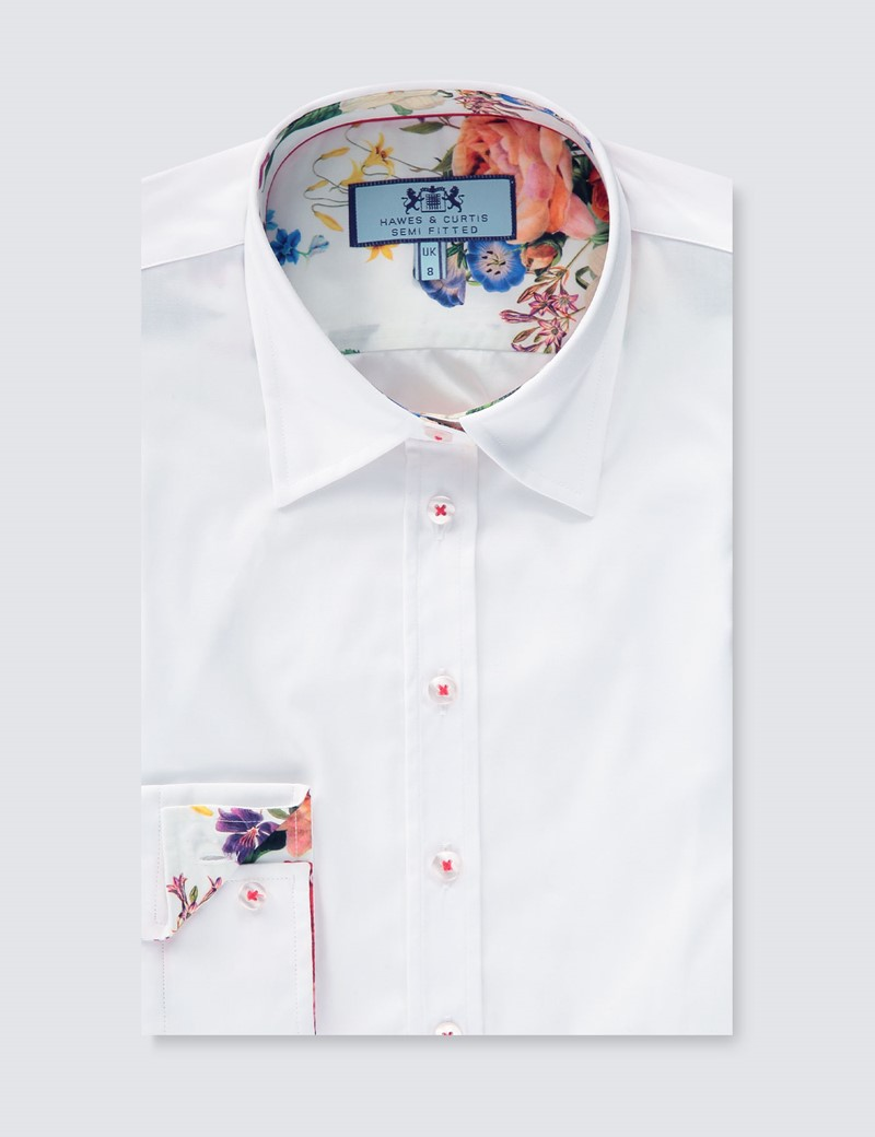 Women's White Semi Fitted Shirt With Contrast Detail - Single Cuff