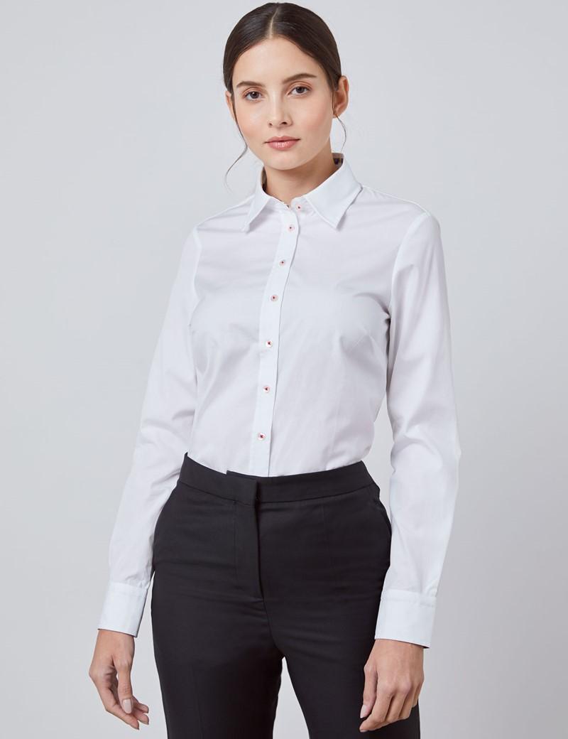 Bluse – Regular Fit – Popeline – weiß mit floralen Kontrasten