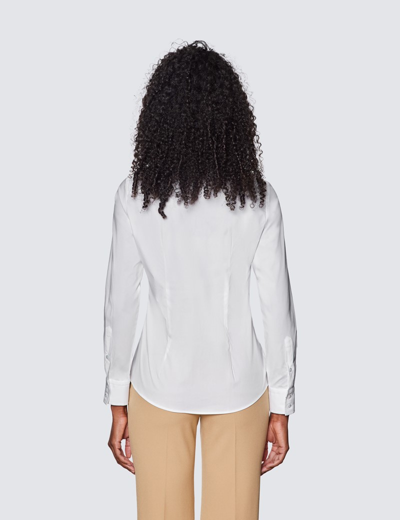 Women's White Semi Fitted Shirt with Contrast Detail