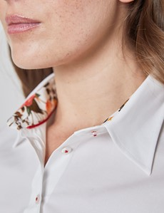 Women's White Semi Fitted Shirt With Floral Contrast - Single Cuff