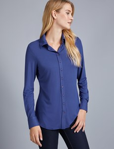 Women's French Navy Semi Fitted Jersey Shirt With Contrast Detail - Single Cuff