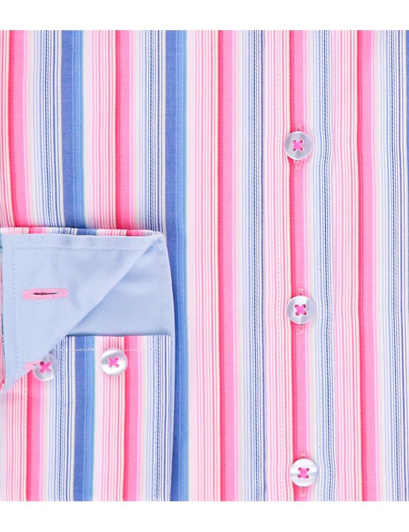 Women's Pink & Blue Multi Stripe Semi Fitted Cotton Shirt - Single Cuff