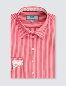 Women's Red & White Multi Stripe Semi Fitted Shirt - Single Cuff
