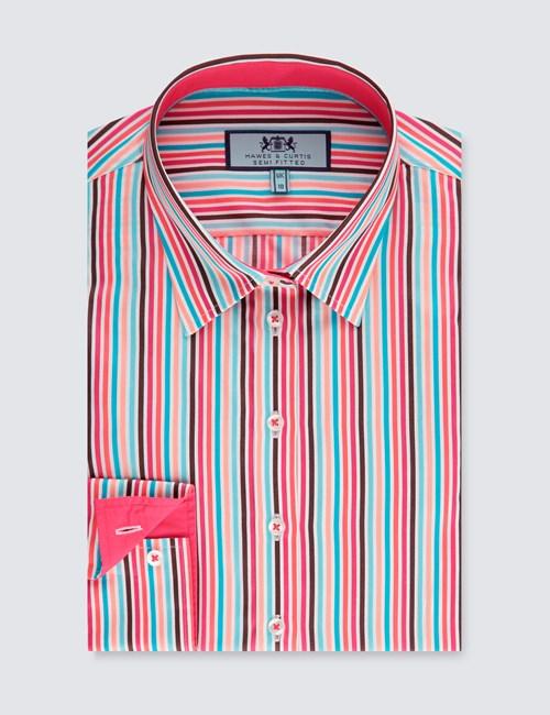 Women's Red & Blue Multi Stripe Semi Fitted Shirt - Single Cuff