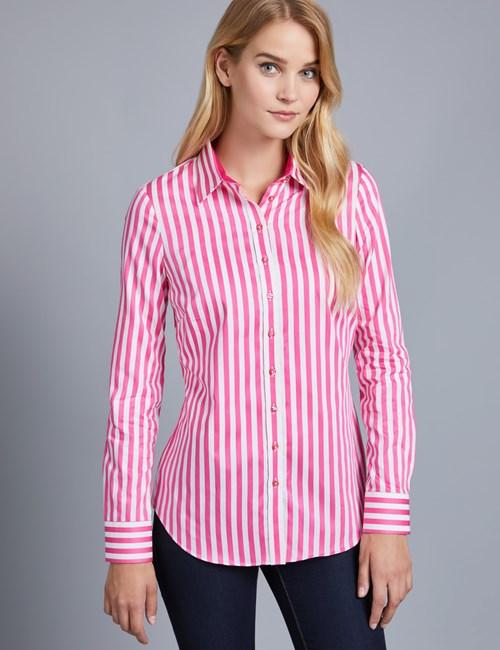 Women's Pink & White Bengal Stripe Semi Fitted Shirt - Single Cuff