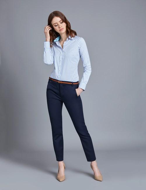Bluse – Regular Fit – Baumwolle – Bengal Streifen himmelblau & weiß