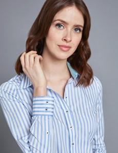 Women's Blue & White Bengal Stripe Semi Fitted Shirt - Single Cuff