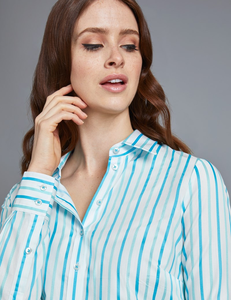 Women's White & Turquoise Multi Stripe Semi Fitted Shirt - Single Cuff