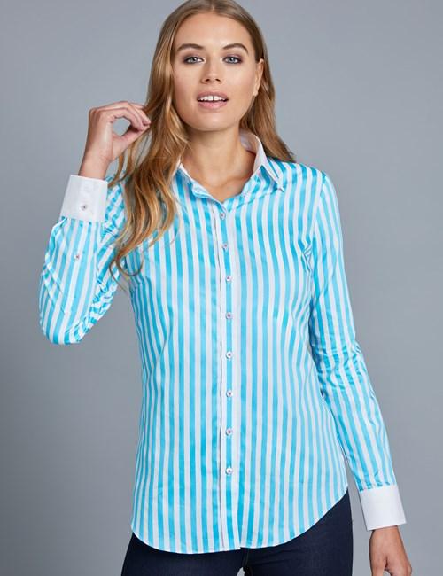 Bluse – Regular Fit – Baumwolle – Bengal Streifen türkisblau & weiß