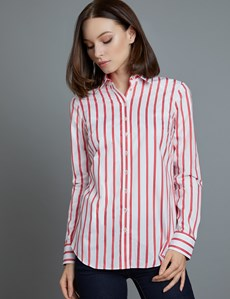 Women's White & Red Stripe Semi Fitted Shirt - Single Cuff