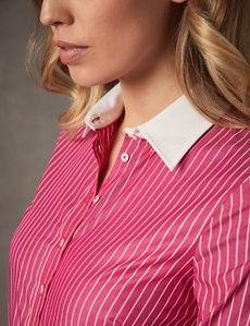 Women's Pink & White Stripe Semi Fitted Shirt With White Collar & Cuff- Single Cuff