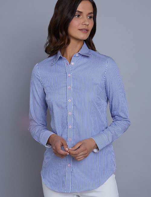 Women's Blue & White  Bengal Stripe Semi Fitted Shirt - Single Cuff