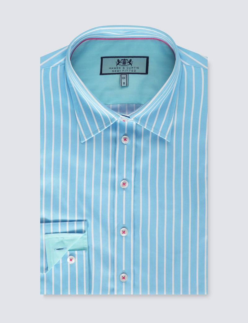 Women's Blue & White Bi Colour Stripe Semi Fitted Shirt - Single Cuff