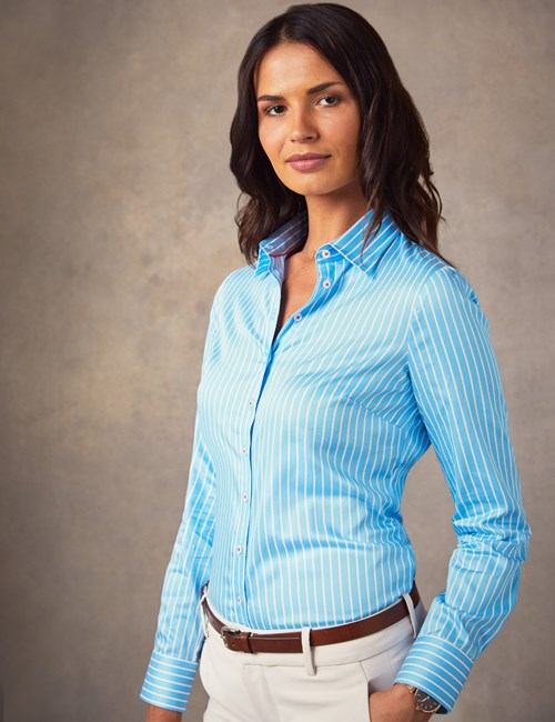 Women's Blue & White Bi Color Stripe Semi Fitted Shirt - Single Cuff