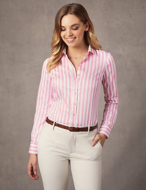Women's Pink & White Bold Stripe Semi Fitted Shirt - Single Cuff