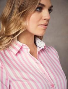 Bluse – Regular Fit – Baumwolle – Pink gestreift