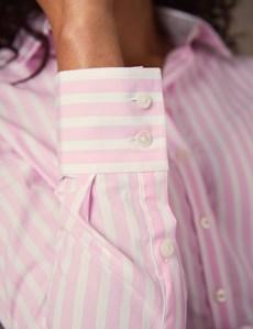 Bluse – Regular Fit – Baumwolle – Zweifarbig gestreift pink