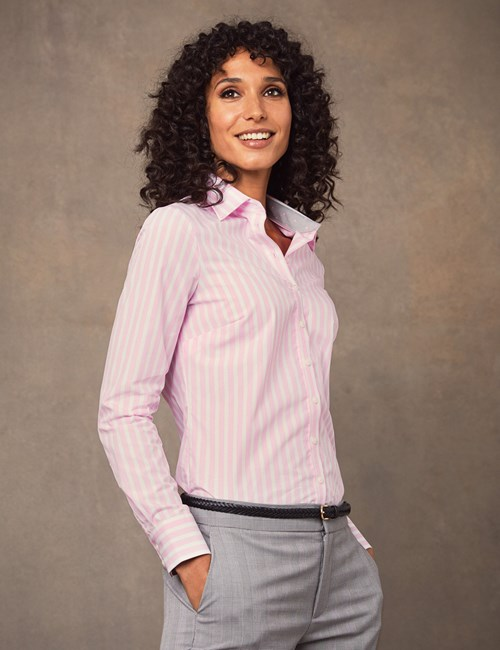 Women's Pink & White Stripe Semi Fitted Shirt - Single Cuff