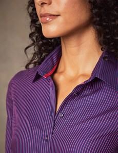 Bluse – Regular Fit – Baumwolle – Marine & Pink gestreift