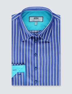 Bluse – Regular Fit – Baumwolle – navy mit weißen Streifen