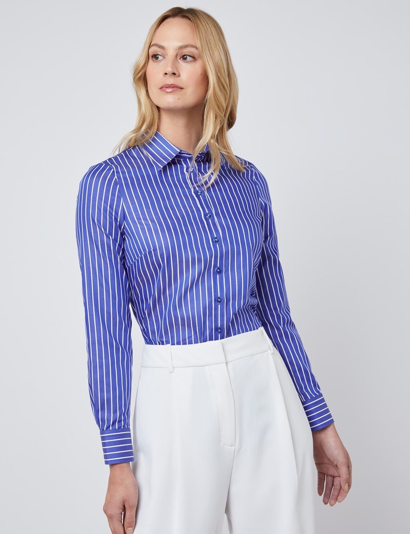 Women's Navy & White Stripe Semi Fitted Shirt - Single Cuff