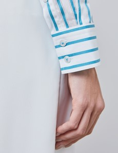 Women's Blue & White Tonal Stripe Semi Fitted Shirt - Single Cuff
