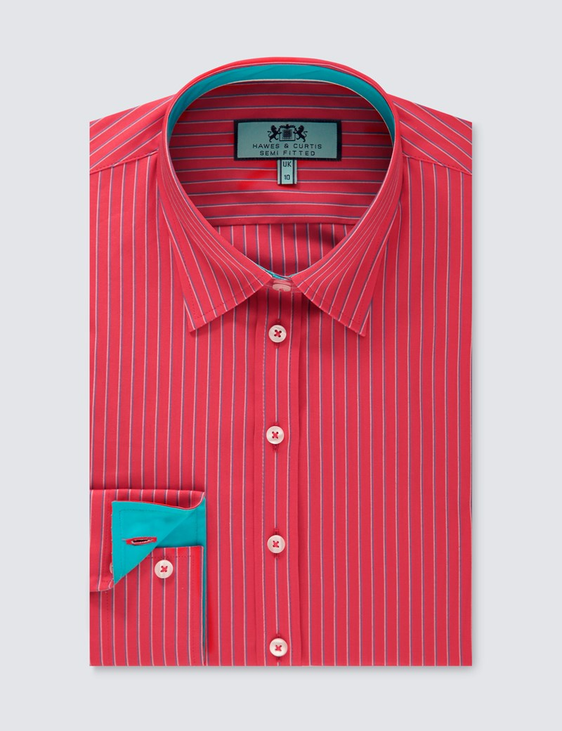 Women's Red & Blue Pinstripe Stripe Semi Fitted Shirt - Single Cuff