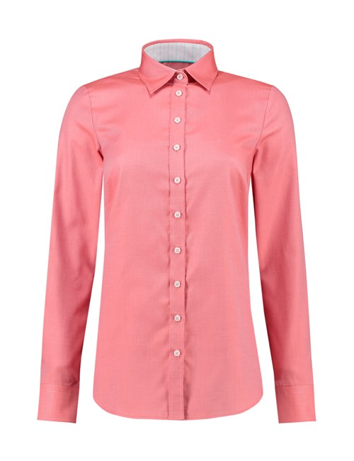 Women's Coral Textured Semi Fitted Shirt With Contrast Detail - Single Cuff