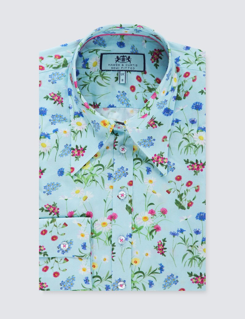 Women's Light Blue & Yellow Floral Semi Fitted Vintage Shirt - Single Cuff
