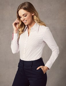 Women's White & Pink Spot Semi Fitted Vintage Shirt - Single Cuff
