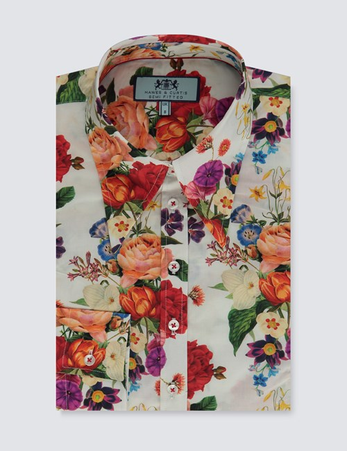Women's White & Red Botanic Floral Fitted Vintage Shirt - Single Cuff