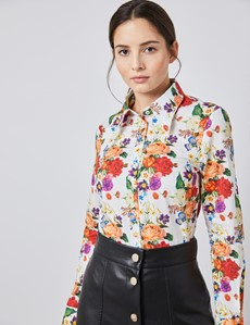 Women's White & Red Botanic Floral Semi Fitted Vintage Shirt - Single Cuff