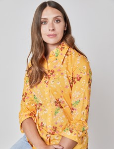 Women's Orange & Red Floral Vintage Collar Semi Fitted Shirt - Single Cuff