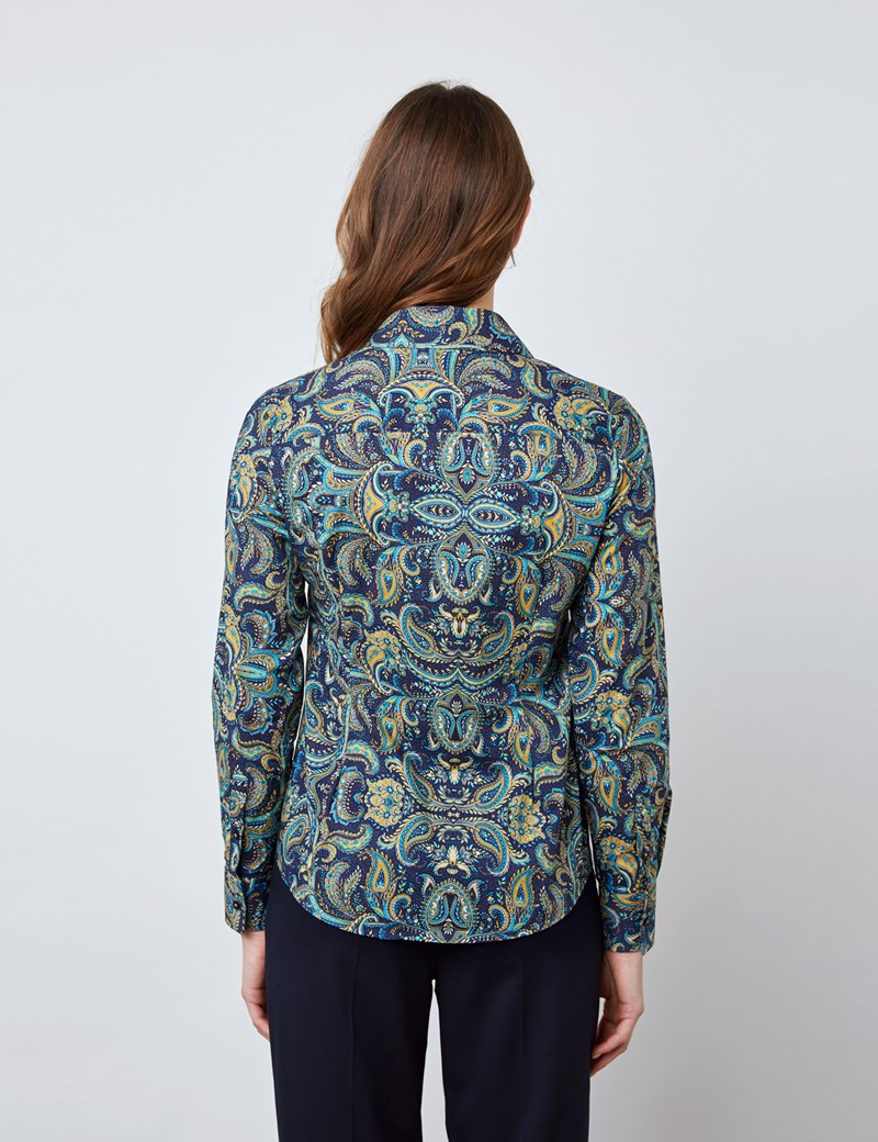 Women's Navy & Gold Paisley Vintage Collar Semi Fitted Blouse