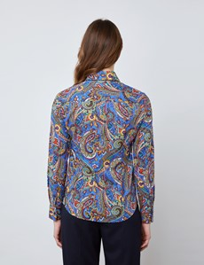 Women's  Blue & Red Paisley Vintage Collar Semi Fitted Blouse