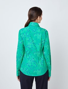Women's Green & Navy Daisy Print Semi Fitted Shirt